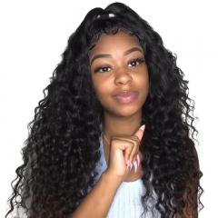 Silk Top Full Lace Wigs Natural Silk Base Ponytail Wigs Deep Wave With Baby Hair Pre-Plucked Natural Hair Line 150% Density Wigs