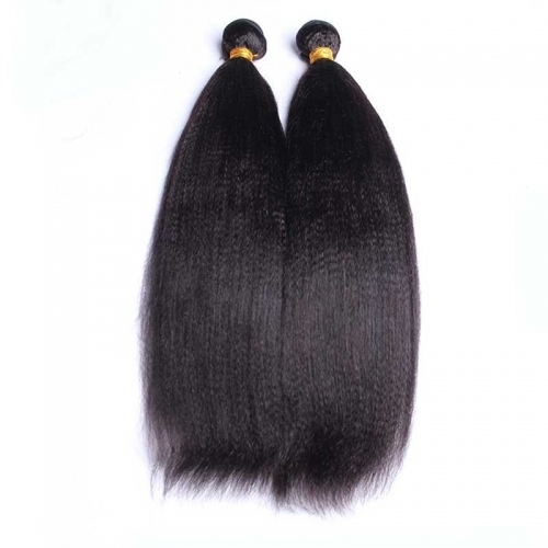 Italian Yaki Straight Unporcessed Brazilian Human Hair Bundles Natural Color Hair Weaving