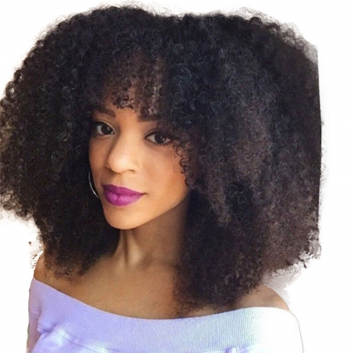300% High Density Short Kinky Curly Brazilian Human Hair Wigs Afro Kinky Curly Wig for Women 14 inch