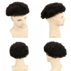 Afro Curl Human Hair Toupee For Mens Color Black Men's Toupee with Transparent Thin skin PU