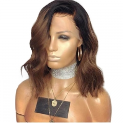 Ombre 1bt/30 Lace Front Wigs Natural Wave Brazilian Human Hair Wigs Bleached Knots with Baby Hair