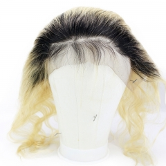 1b/613# Ombre Blonde Hand Made Ear to Ear Body Wave Lace Frontal Closure Bleached Knots With Baby Hair