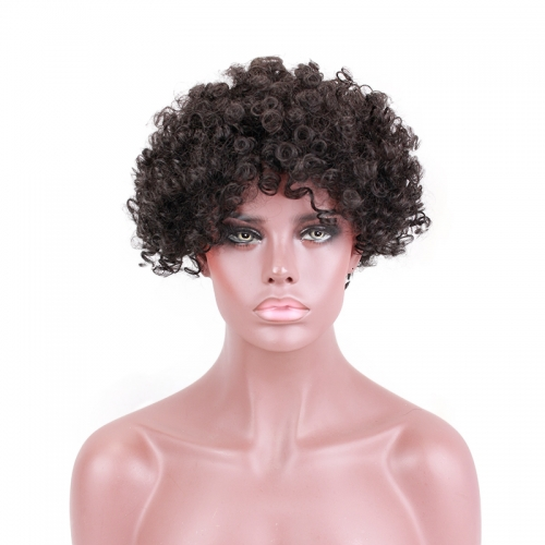 Short Curly Wigs for Women Brazilian Hair Natural Color Wig