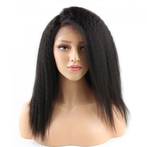 Natural Color Kinky Straight Human Hair Full Lace Wig 180% Dnesity With Natural Baby Hair Pre Plucked