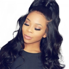 Glueless Full Lace Wigs For Black Women Elastic Cap 100% Human Hair Wig Body Wave Pre-Plucked Natural Hair Line