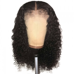 Middle Part Brazilian Natural Color Curly Hair Full Lace Wig Pre Plucked Hair Line With Baby Hair