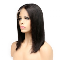 Silky Straight Natural Color Human Hair 13x6 Lace Frontal Wigs Middle Parting Pre Plucked Hair Line