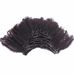 4B 4C Brazilian Afro Kinky Curly Clip In Human Hair Extensions 100% Human Natural Color Hair Can Be Dyed