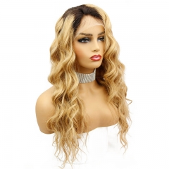Ombre Colored Brazilian Human Hair Lace Wigs 1B/27 Loose Wave Hair Lace Wigs Bleached Knots Pre Plucked Hair Line with Natural Baby Hair