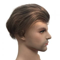 Size 10x8 Human Hair 7# Brown Mens Toupee Thin Skin Around with Mono Lace