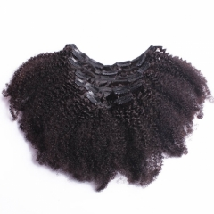 3B 3C Kinky Curly Clip In Human Hair Extensions Nautral Color Clip-in Full Head 7 Pcs Non-remy Hair 120G