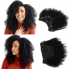Afro Kinky Curly Clip In Human Hair Extensions Human Natural Color Hair For Women