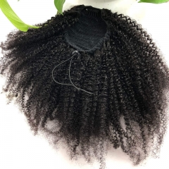 4B 4C Afro Kinky Curly Brazilian Human Hair Natural Color Pontail With Combs and Straps