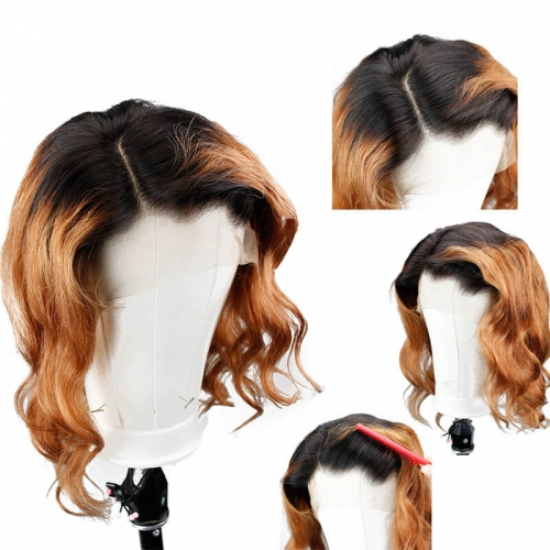 Ombre Colored Human Hair Lace Front Wigs 1B/27 Wavy Brazilian Hair Lace Wig Pre Plucked With Baby Hair