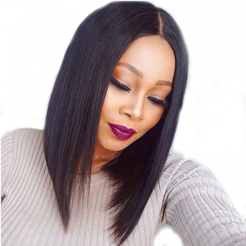 Short Black Bob Human Hair Straight Brazilian Remy HD Transparent Lace Front Wig 180% Density Hair Wigs Natural Baby Hair For Sale