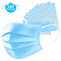 Disposable Face Mask Thick 3-Ply Mouth Cover with Elastic Ear Loop,Breathable (100pcs)