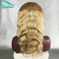 Bythairshop #613 Blonde Color Body Wave Human Hair Full Lace Wigs 130% 150% Density Bleached Knots Lace Front Wig