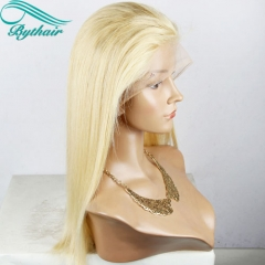 Bythairshop Silky Straight Blonde Color Human Hair Full Lace Wigs Pre Plucked Hairline 130% Density Lace Front Wig