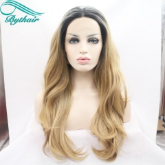 Bythairshop black to light brown two tones ombre hair body wave lace front synthetic wigs heat resistant fiber wig