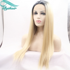 Bythairshop Heat Resistant Fiber Black Root Ombre Blonde Two Tone Color Perruque Women Silk Stragiht Synthetic Lace Front Party Wig
