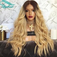 Bythairshop Top Quality Ombre Blonde Color Big Natural Wavy As The Picture Show Full Lace Human Hair Wigs Brazilian Virgin Hair Lace Front Wigs