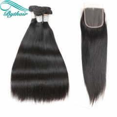 Bythairshop Human Hair Weaves Bundles With Closure Unprocessed Brazillian Peruvian Indian Malaysian Virgin Human Hair Straight Hair Extensions