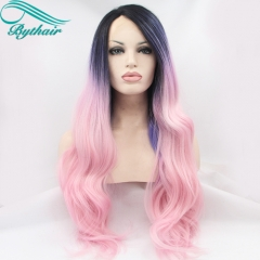 Bythairshop Black Root Ombre Blue/Purple To Pink Colorful Heat Resistant Fiber Body Wavy Soft Synthetic Lace Front Wig Free Shipping