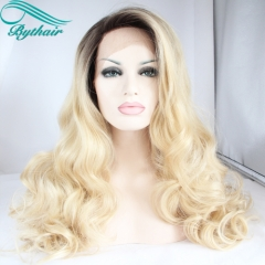 Bythairshop Natural Long Body Wave Side Part Ombre Blonde Wigs Synthetic Lace Front Wig Heat Resistant Hair For White Women