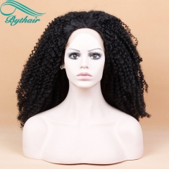 Bythairshop Afro Kinky Curly Heat Resistant Fiber Hair Natural Black 1B Color Synthetic Lace Front Wigs for Black Women Free Shipping