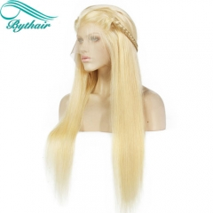 Bythairshop 613 Blonde Color Full Lace Wigs Vrigin Brazilian Hair Blonde Lace Front Wig Long Straight Human Hair Wig With Baby Hairs