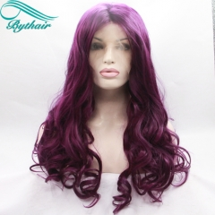 Bythairshop Long Bouncy Lilac Purple Hairstyle Heat Resistant Fiber Wigs Wavy Dark Lavender Glueless Synthetic Lace Front Women Wig