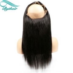 Bythairshop Natural Black Color Pre Plucked 360 Lace Frontal Closure Straight Bleached Knots With Baby Hair Brazilian Remy Hair