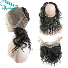 Bythairshop Natural Black Color Pre Plucked 360 Lace Frontal Closure Body Wave Bleached Knots With Baby Hair Brazilian Remy Hair