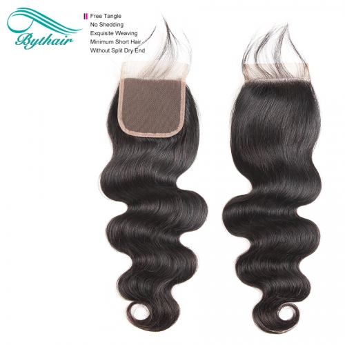Bythairshop Brazilian Body Wave 4x4 Pre-Plucked Lace Closure With Baby Hair Remy Human Hair Free Part