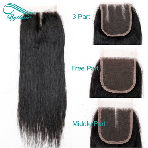 Bythairshop Brazilian Straight 4x4 Pre-Plucked Lace Closure With Baby Hair Remy Human Hair Free Part