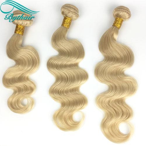 Bythairshop #613 Blonde Color Body Wave Human Hair Weaves 3 Bundles For 1 Set Unprocessed Brazillian Peruvian Indian Malaysian Human Hair Extensions