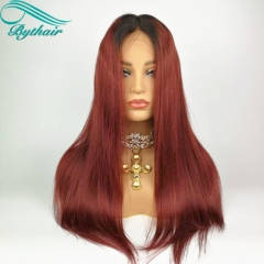 Bythairshop Ombre Color #1B t #99J Ombre Color Human Hair Full Lace Wig Straight Lace Front Wig Two Tone Color Human Hair Wigs