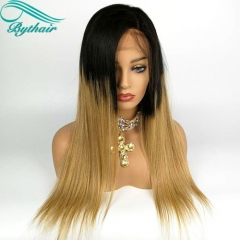 Bythairshop 100% Human Hair #1B T #27 Ombre Color Human Hair Glueless Wig Ombre Silky Straight Full Lace Wig Two Tone Color Lace Front Wig