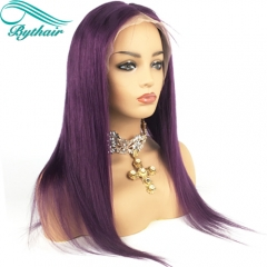 Bythairshop Purple Color Silky Straight Long Human Hair Full Lace Wigs 130% 150% Density Brazilian Human Hair Lace Front Wigs