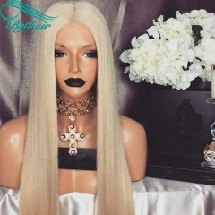 Bythairshop Silky Straight 60# Blonde Color Human Hair Full Lace Wigs 130% 150% Density Bleached Knots Lace Front Wigs
