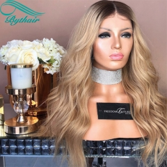 Bythairshop Ombre Color Blonde Color With Brown Roots Human Hair Full Lace Wig Wavy Lace Front Wig Two Tone Color Human Hair Wigs
