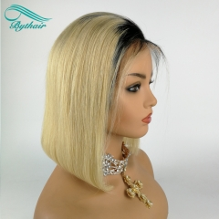 Bythairshop Bob Straight Ombre Color #1B t #613  Human Hair Full Lace Wig Straight Lace Front Wig Two Tone Color Human Hair Wigs