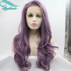 Bythairshop Long Body Wave Purple Color Synthetic Lace Front Wig Half Hand Tied Bouncy Heat Resistant Fiber Hair For Women