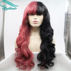Bythairshop Half Red/Half Black Wigs With Bangs Heat Resistant Fiber Body Wave New Style Synthetic Lace Front Wigs For Cosplay/Party