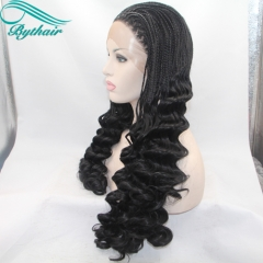 Bythairshop Long Natural Braids Wig High Temperature Pastel Natural Black Color Synthetic Lace Front Wigs with Baby Hair Braided Wigs