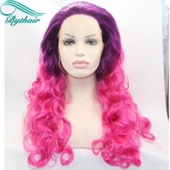 Bythairshop Long Body Wave Ombre Purple Red Color Synthetic Lace Front Wig Half Hand Tied Ombre Purple Rose Red Heat Resistant Fiber Hair For Women