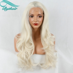 Bythairshop Natural Soft Hair Wavy 60# Blonde Heat Resistant Lace Front Wig Synthetic Long Ash Blonde Wigs For White Women Free Part