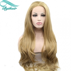 Bythairshop 24# color blonde body wave synthetic lace front wigs with free parting natural look glueless heat resistant fiber hair