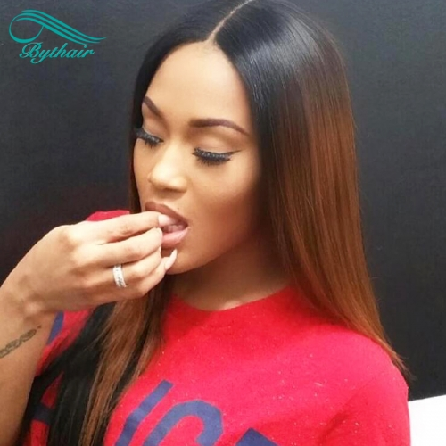 Bythairshop Virgin brazilian straight ombre full lace wigs human hair glueless two tone color lace front wig #1b/#30 color for black women