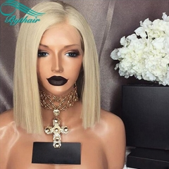 Bythairshop #60 Blonde Color Short Bob Straight Full Lace Wigs Virgin Brazilian Hair Blonde Lace Front Wig Human Hair Wig With Baby Hairs